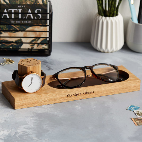 Watch stand with glasses tray