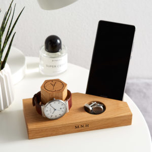 Oak bedside and phone stand