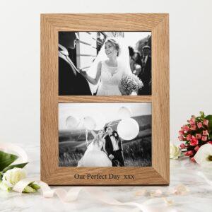 Oak double photo frame