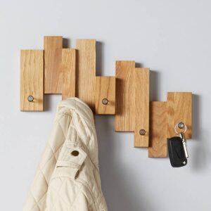 oak blocks coat rack