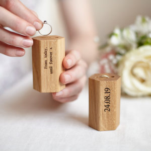 Oak Personalised Ring Holder.