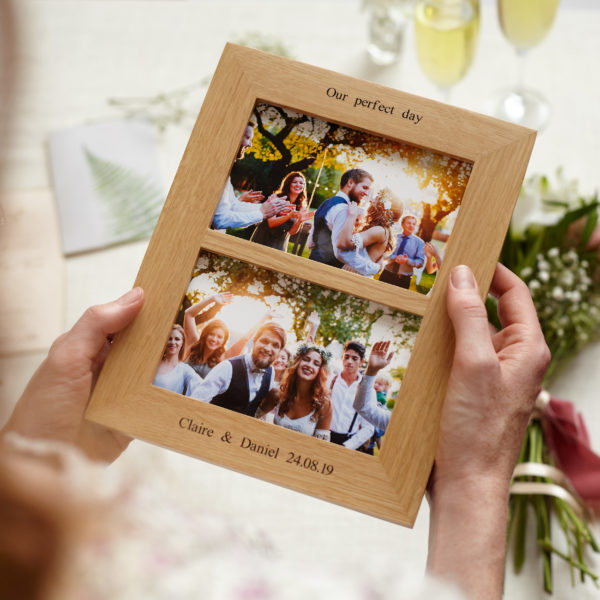 Personalised double oak wedding photo frame