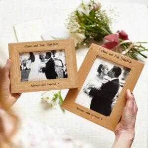 Personalised oak wedding photo frame