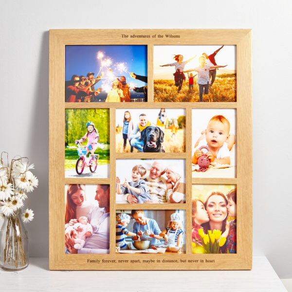 Solid oak personalised gallery photo frame